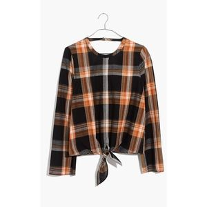 NWT Madewell Plaid Tie-Front Keyhole Sheer Top